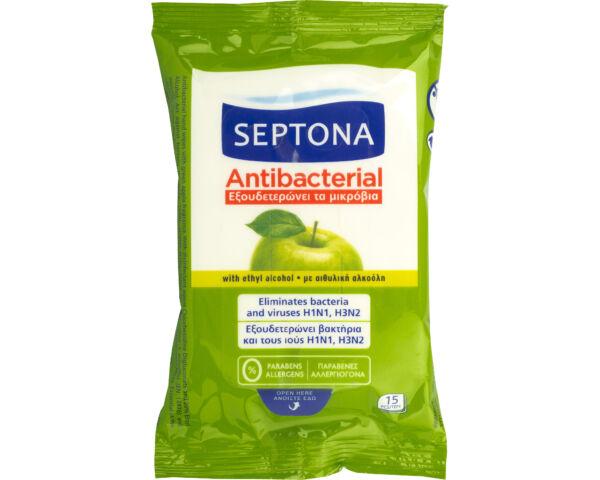 Septona zöldalmás antibakteriális törlőkendő -15db