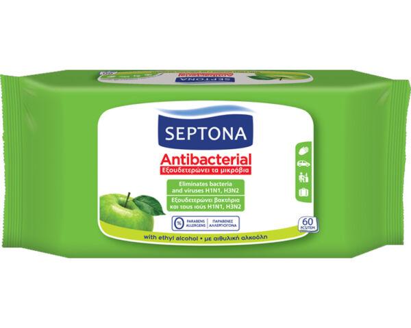 Septona zöldalmás antibakteriális törlőkendő - 60 db