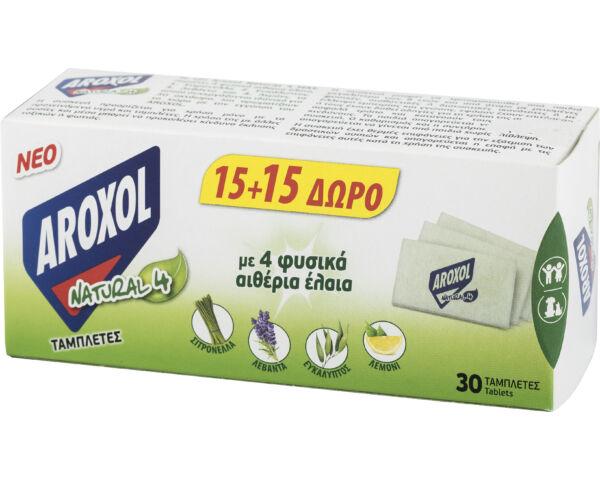Aroxol natural 4 szúnyogirtó elektromos utántöltő lapka - 30 db