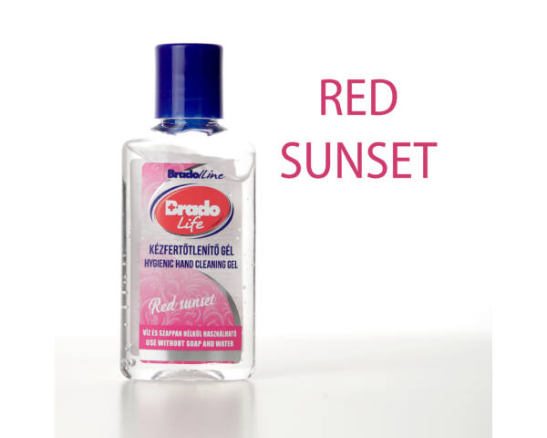 BradoLife kézfertőtlenítő gél 50 ml - Red sunset