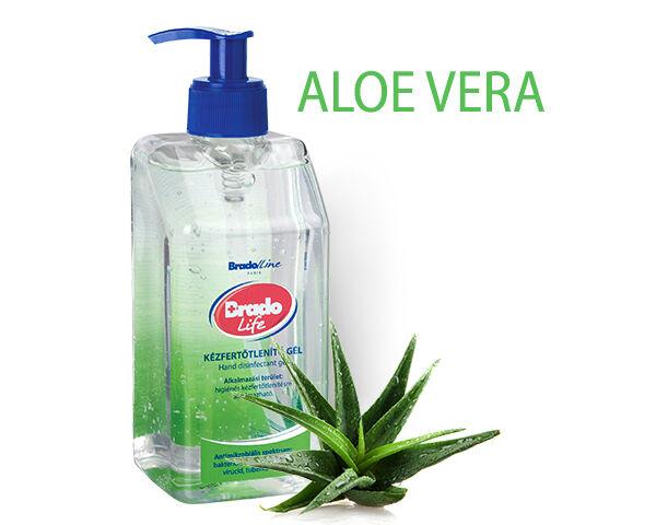 BradoLife kézfertőtlenítő gél 500 ml - aloe vera
